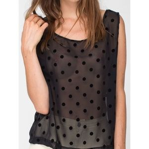 American Apparel Black chiffon polka dot tank top